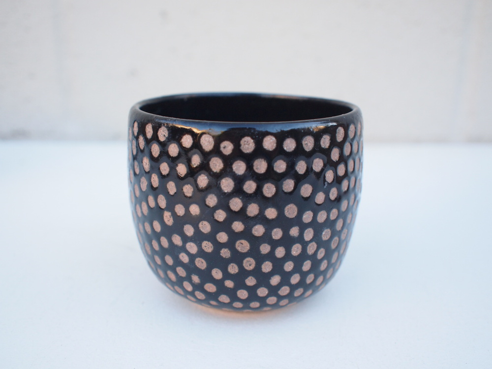"""#223Black dot cup 3.5"""" h x 4"""" d $40"""