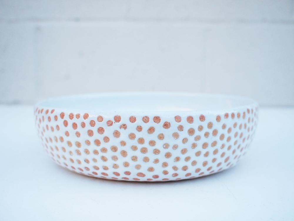 """#226 White dot bowl 2.25"""" h x 8.25"""" d $110"""
