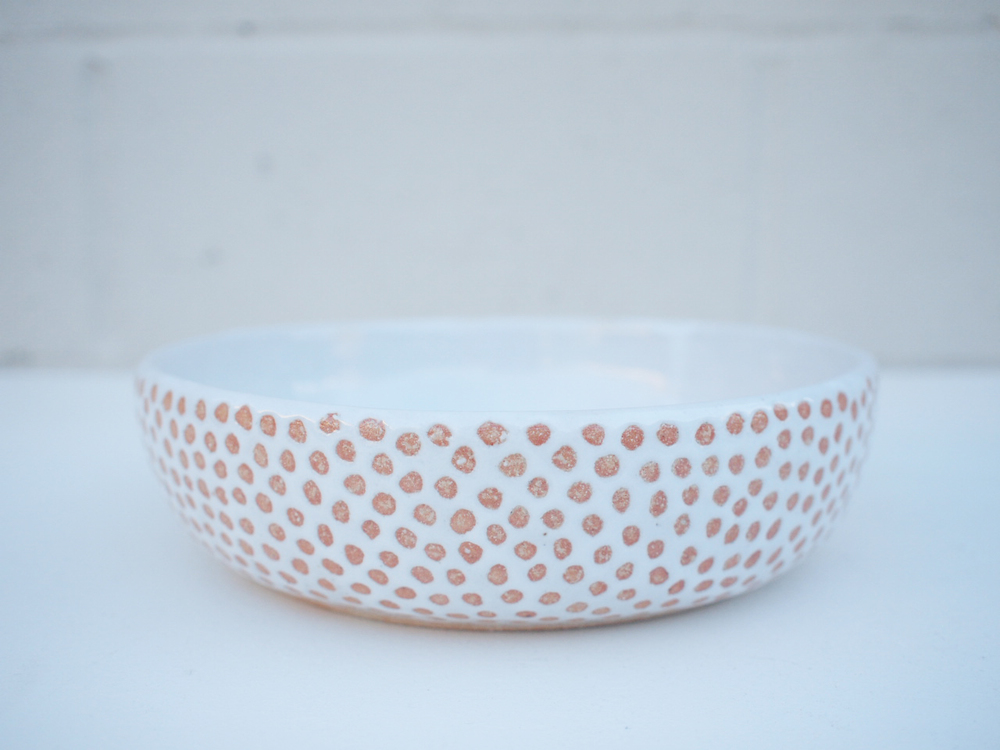 "#227 White dot bowl 2.25"" h x 8.25"" d $110"
