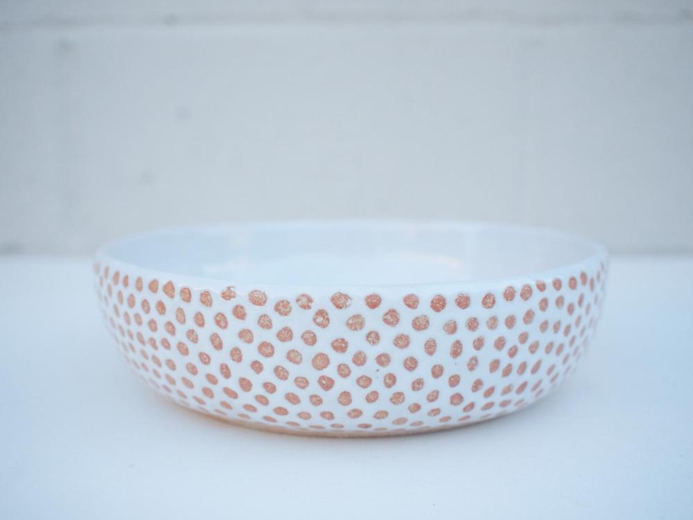 """#227White dot bowl 2.25"""" h x 8.25"""" d $110"""