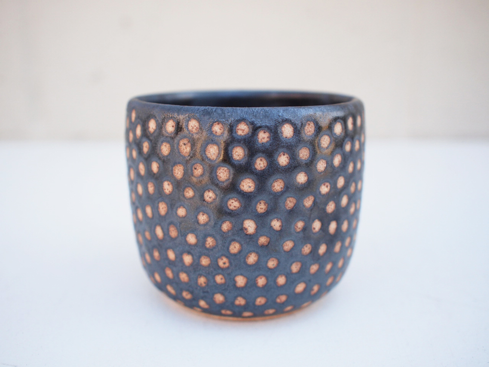 "#229 Metallic black dot cup 3"" h x 3.5"" d $30 SOLD OUT"