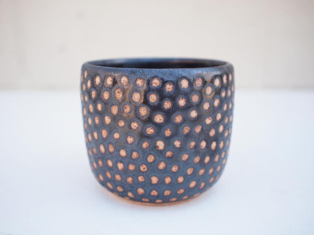 "#229 Metallic black dot cup 3"" h x 3.5"" d $30"
