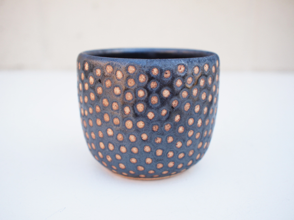 "#230Metallic black dot cup 3"" h x 3.5"" d $30"