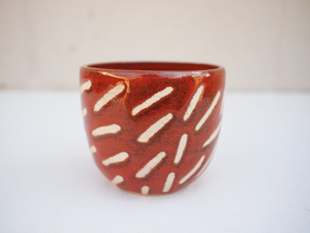"""#231 Red dash cup 3"""" h x 3.5"""" d $30"""