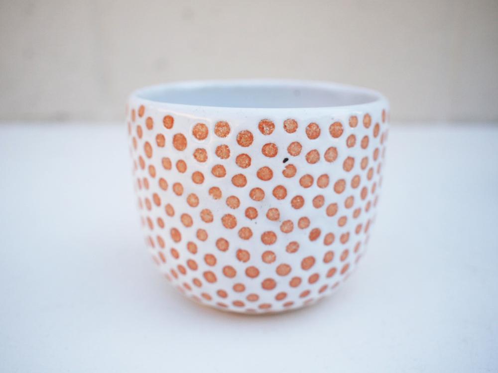 """#233 White dot pot 3.5"""" h x 4"""" d $45"""
