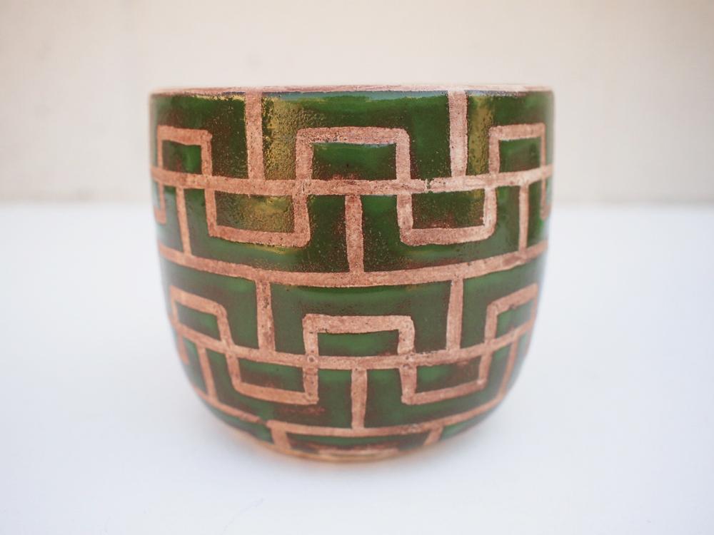"#234 Green masonry pot 4.5"" h x 5.25"" d $85"