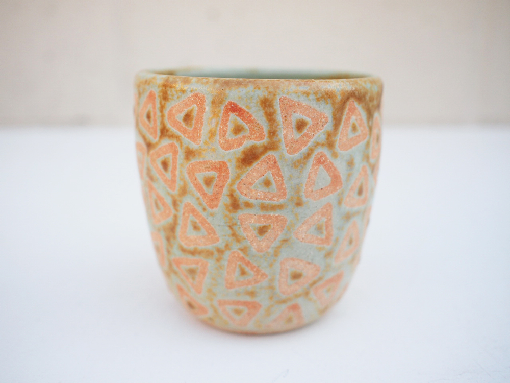 """#235 Pale blue green triangle cup 3.5"""" h x 3.5"""" d $35"""