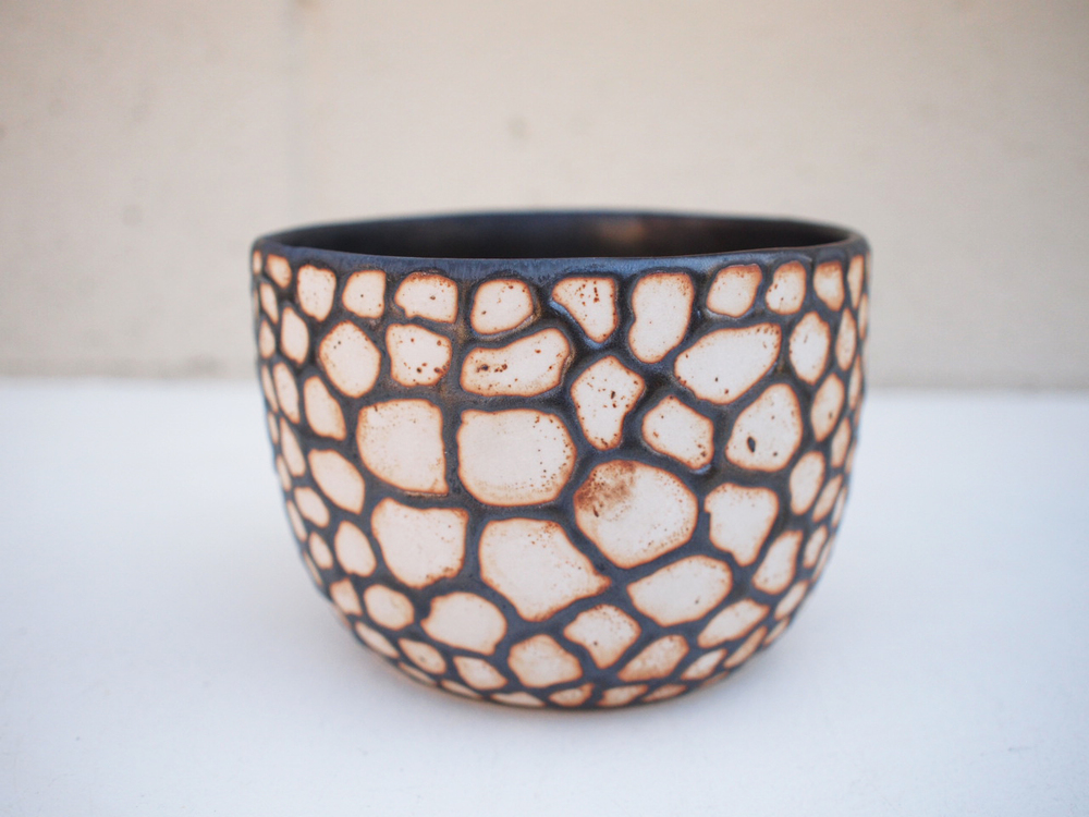 "#236 Metallic b/w animal print pot 4"" h x 5.75"" d $110"