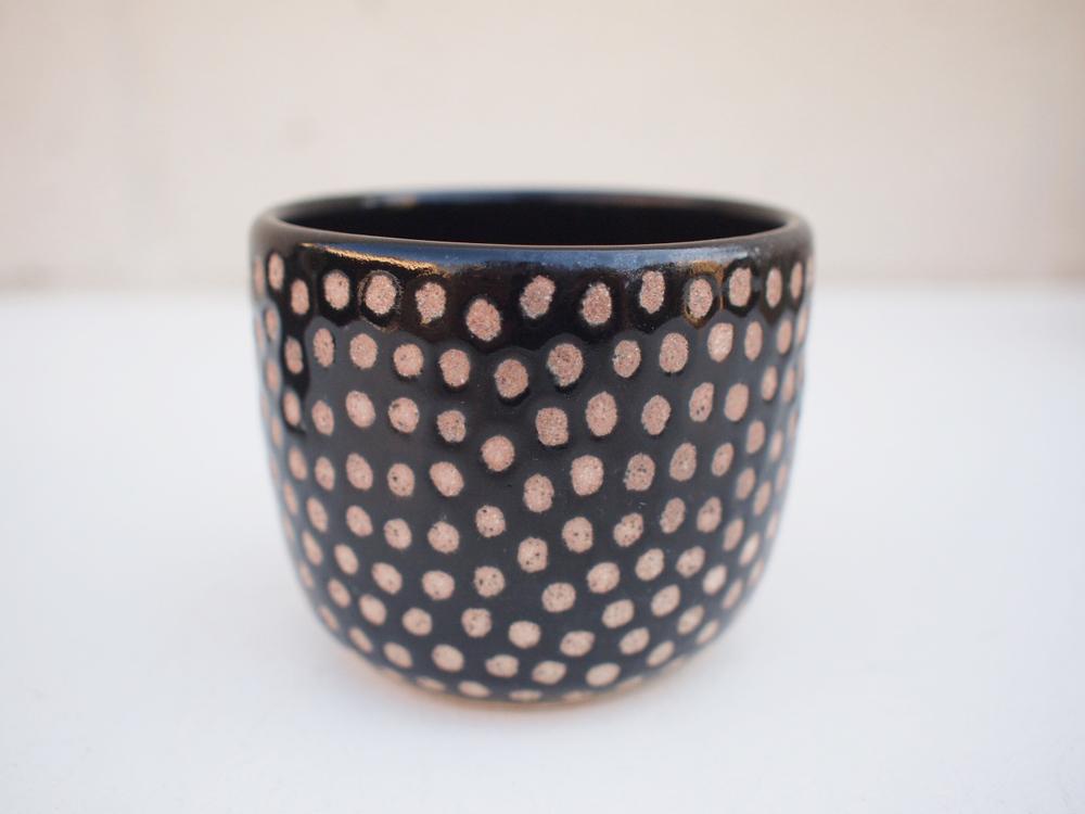 """#237Black dot cup 2.75"""" h x 3.5"""" d $30"""