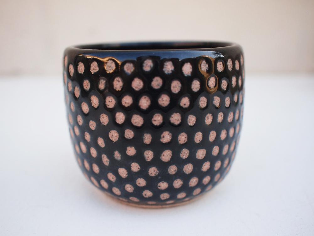 """#238 Black dot cup 2.75"""" h x 3.5"""" d $30"""