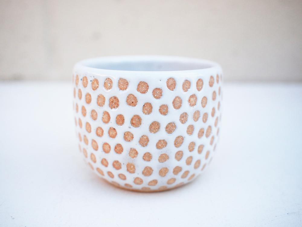 """#239 White dot cup 2.75"""" h x 3.25"""" d $25"""