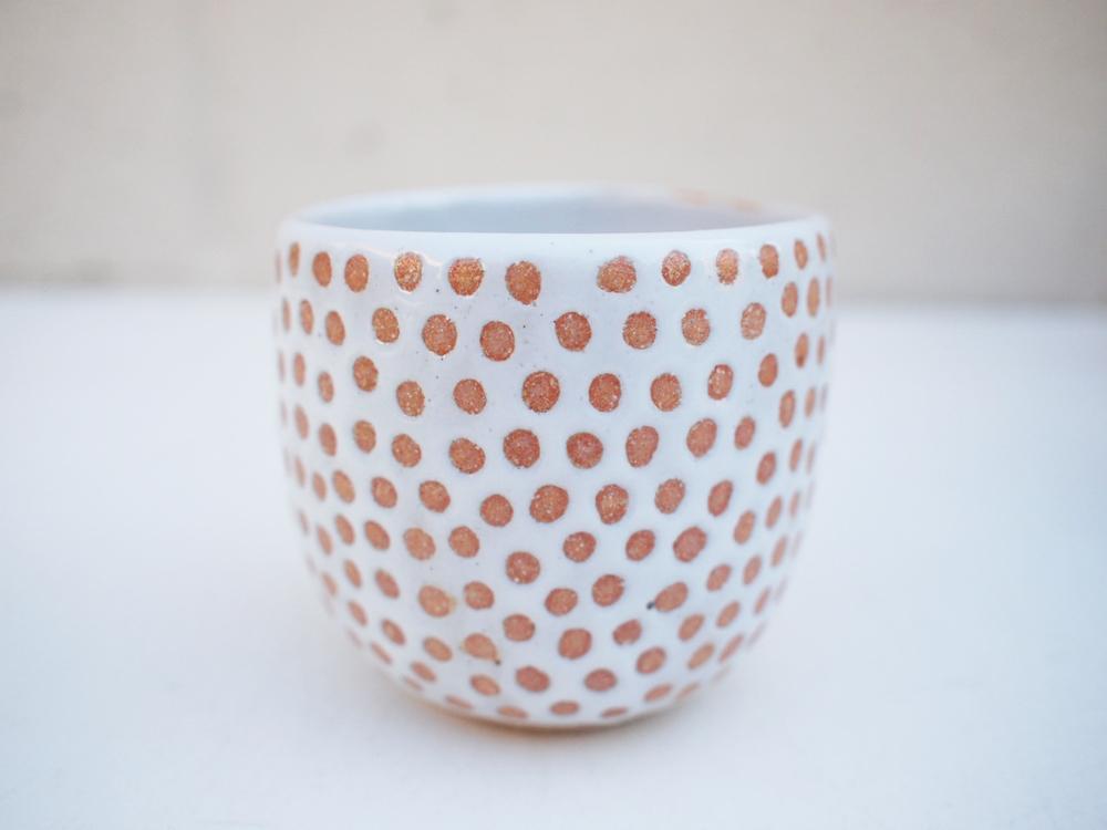 """#240 White dot cup 3"""" h x 3.25"""" d $30"""
