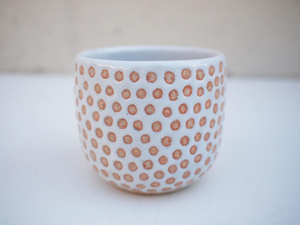 """#241White dot cup 3"""" h x 3.25"""" d $30"""