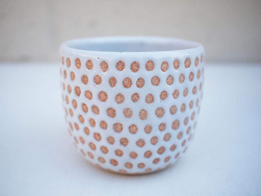 """#242 White dot cup 3"""" h x 3.5"""" d $30"""