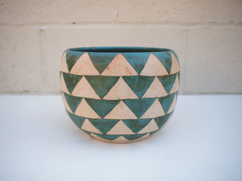 """#245 Turquoise triangle pot**SECOND 6.25"""" h x 8.25"""" d $95"""