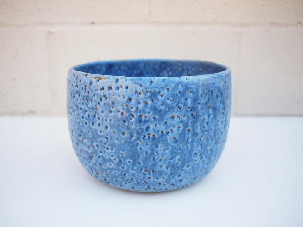 "#246 Blue meteor pot **SECOND 6.25"" h x 8.25"" d $75"