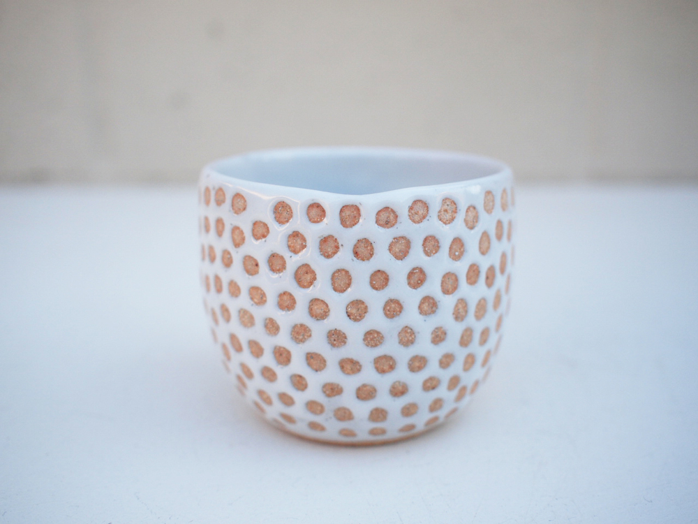 """#247 White dot cup**SECOND 2.75"""" h x 3.25"""" d $15"""