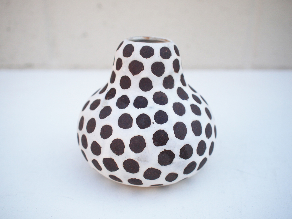 """#248White spotted gourd **SECOND 4.5"""" h x 5"""" d $55"""