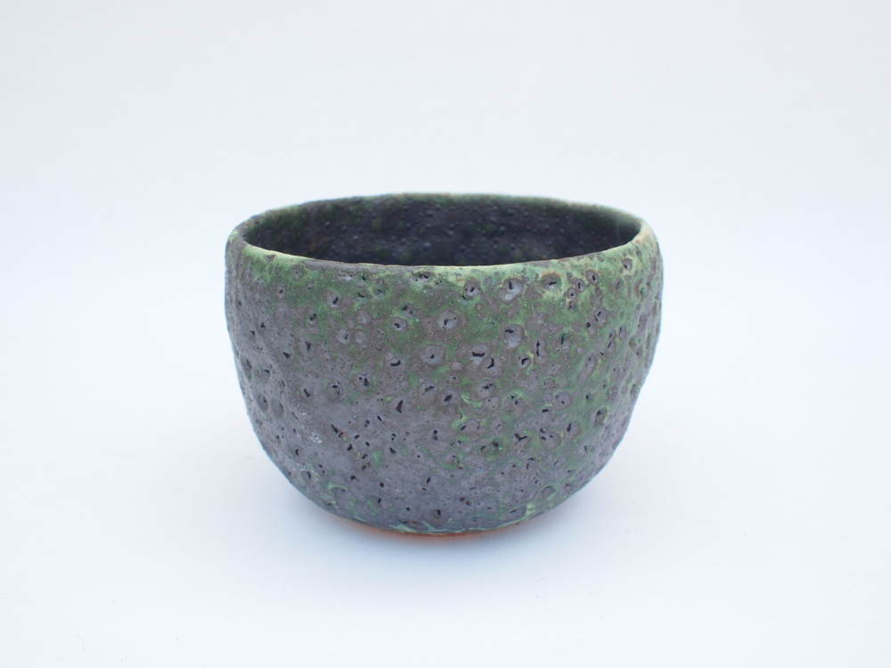 "#259 Mixed/green meteor pot 3"" h x 4.5"" d $40"