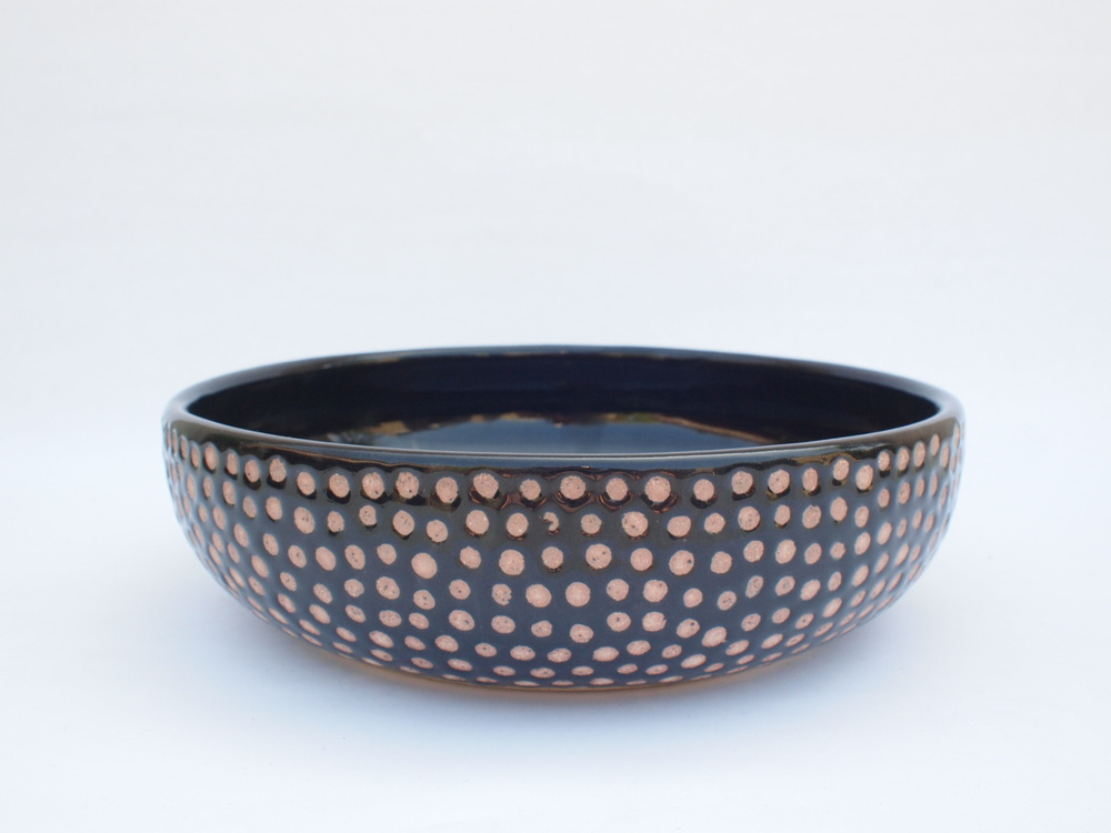 "#255 Black spotted bowl 2.5"" h x 9"" d $110  SOLD OUT"