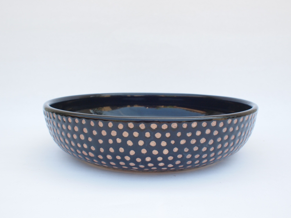 "#256 Black spotted bowl 2"" h x 9"" d $110"