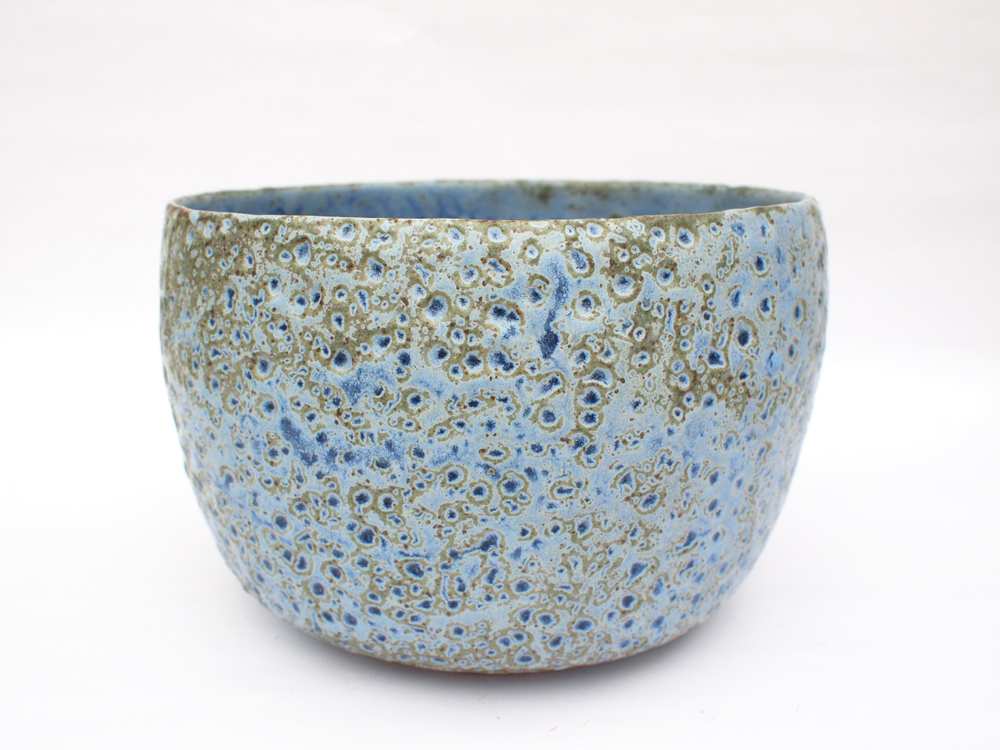 "#264  Blue green meteor pot 5.5"" h x 8.5"" d $145"