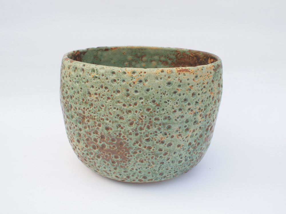 "#269 Pale blue green meteor pot 6"" h x 8"" d $145"