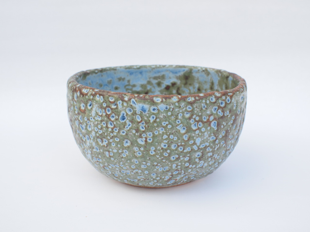 "#267 Blue green meteor pot 3.75"" h x 6.5"" d $60 SOLD OUT"