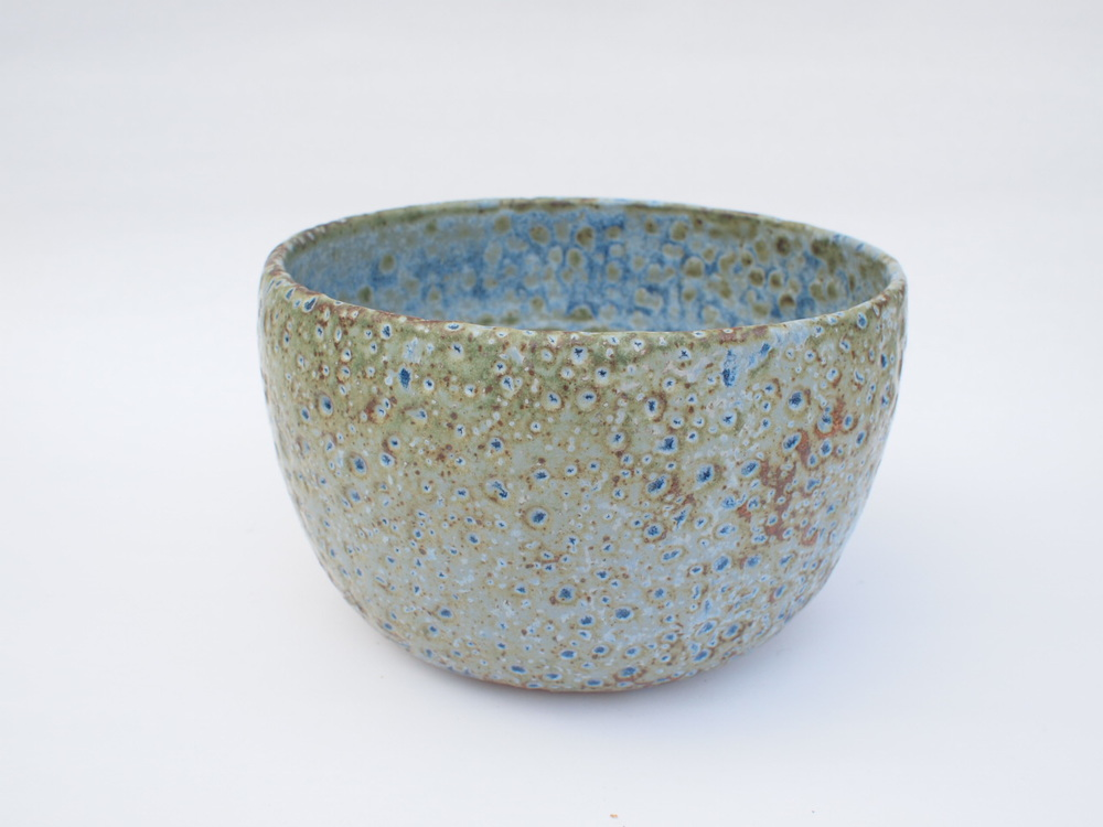 "#268  Blue green meteor pot 4.75"" h x 7.75"" d $125"