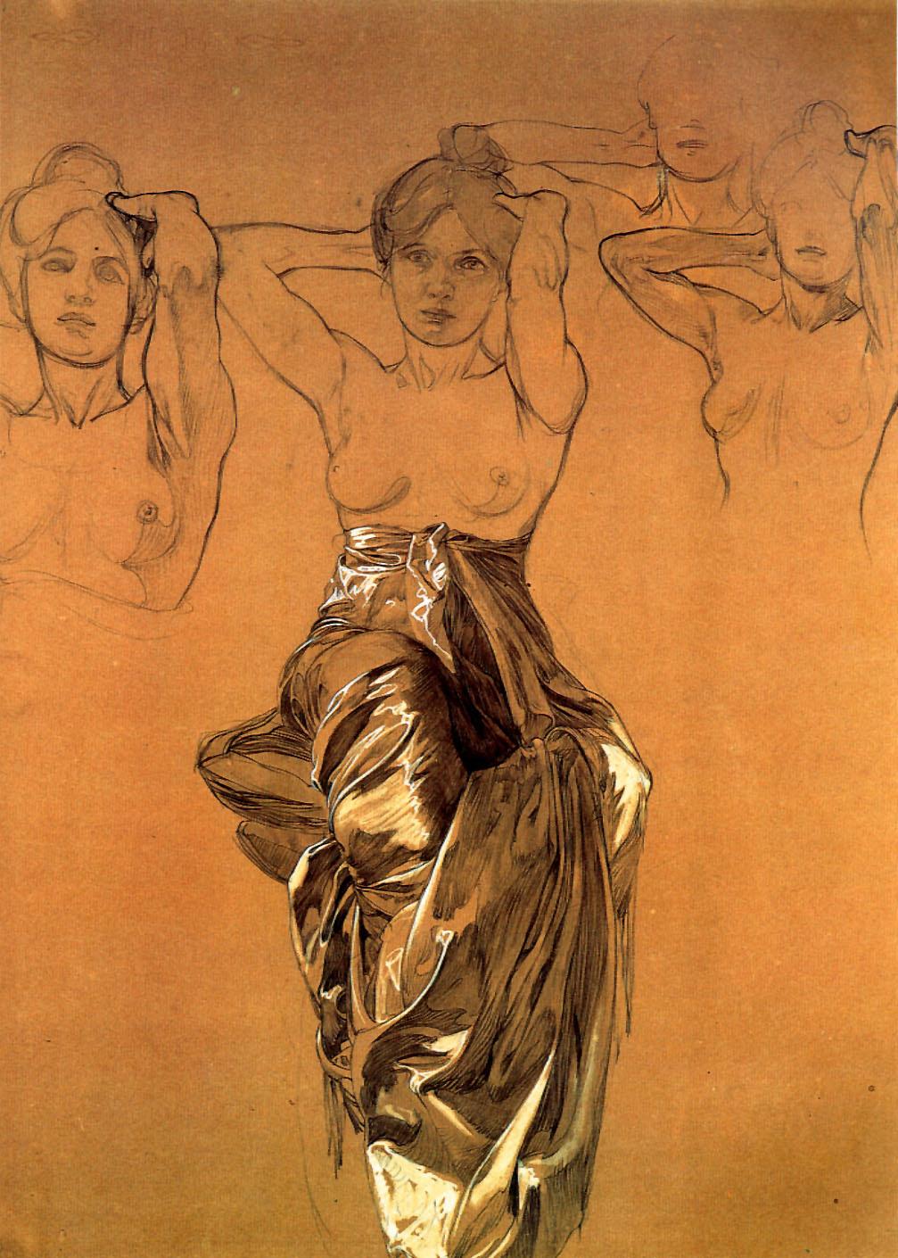 Alphonse Mucha - study of drapery (1900)