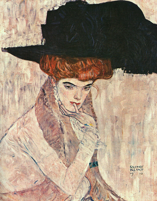 Artwork of the day:      Gustav Klimt- The Black Feather Hat  (1910) aka  Lady With Feather Hat