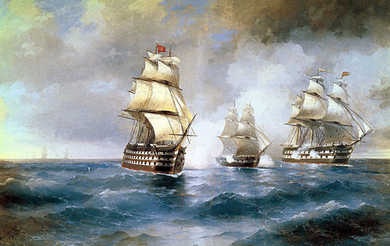 """Artwork of the day:      Ivan Aivazovsky - Brig """"Mercury"""" Attacked by Two Turkish Ships  (1892)     From Wikipedia  -  """"The Mercury fought in several significant naval battles during its existence. One of the most notable of these battles involved a battle between the Mercury (which was, at the time, commanded by lieutenant A. Kazarsky) and two other brigs against a sizable complement of approximately 14 Turkish ships, who were returning from the shores of Anatolia. Turkish victory was at first foreseeable, but the tides of battle changed, and the Mercury was able to escape after a final, powerful assault by the three brigs, ending the conflict."""""""