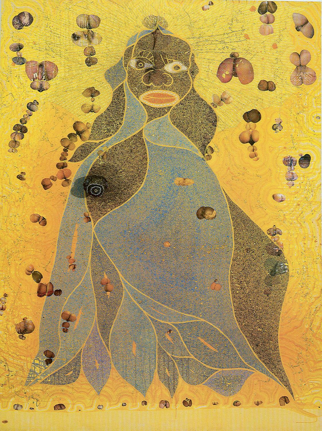 """Artwork of the day:     Ofili - The Holy Virgin Mary  (1996)     The potent mixture of the sacred (Virgin Mary) and the profane (excrement and pornography) became a cause of controversy when the  Sensation  exhibition moved to New York in 1999. The City of New York and Mayor Rudolph Giuliani brought a court case against the  Brooklyn Museum  , with Giuliani describing the exhibition of Ofili's work as """"sick"""" and """"disgusting"""". Giuliani attempted to withdraw the annual $7 million City Hall grant from the museum, and threatened it with eviction.      Many expressed outrage, but few people asked him why he rendered it as he did."""