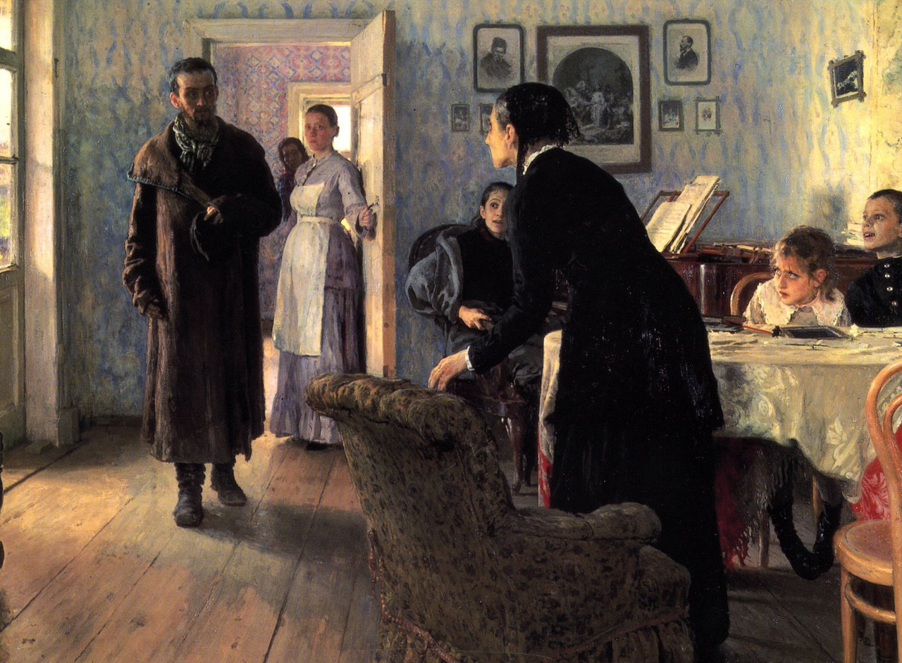 Artwork of the day:           Ilya Repin - Unexpected Visitors  (1888)     The returning exile in the worn peasant overcoat seems to intrude into this measured, comfortable life, as if still clanking his chains. The hero of the picture, singled out by two streams of light – from the window and from the open door, is convinced of his righteousness of his views but he is but yet sure of his relatives' attitude, of whether he is the source of suffering or pride. The reply to this mute question can be seen in the figure of his mother who rises to meet him.