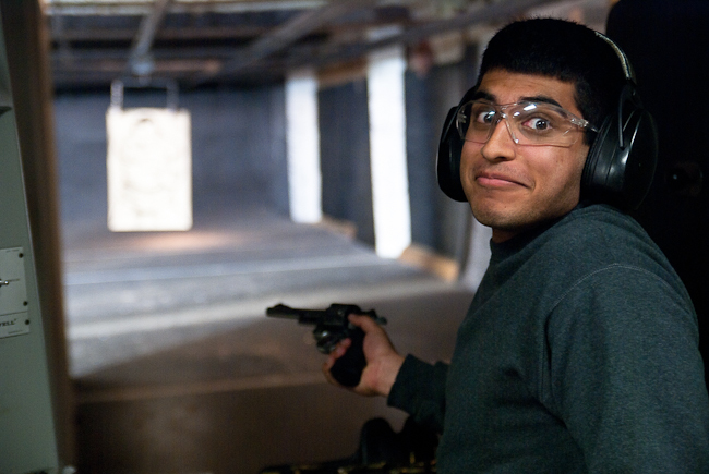I'm getting excited to go back to LA and see all the homies again.   Here is a shot of my buddy Nalin at a shooting range in Inglewood that we went to.   He was a little taken aback by the power of a .357 Magnum.