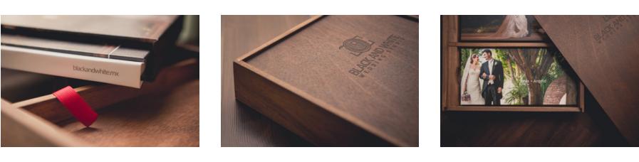 Entregables Premium  Recibes el material dentro de una caja de madera de diseño exclusivo donde encontrarás un album de fotos, los discos con la película y una USB de madera con las fotografías en alta resolución.