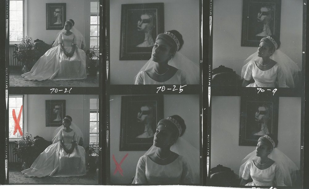 Scan of 1968 4x5 Medium Format Film Contact sheet from my mother's wedding