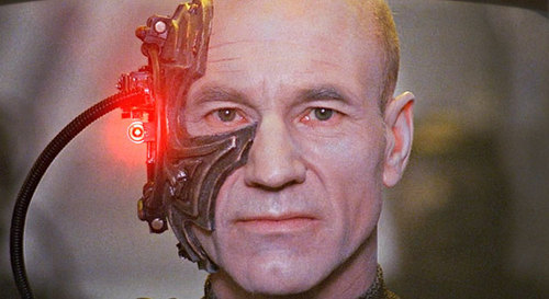 Patrick Stewart visits a very dark mental space as Borg Picard (UMM, HIS NAME IS LOCUTUS OF BORG).