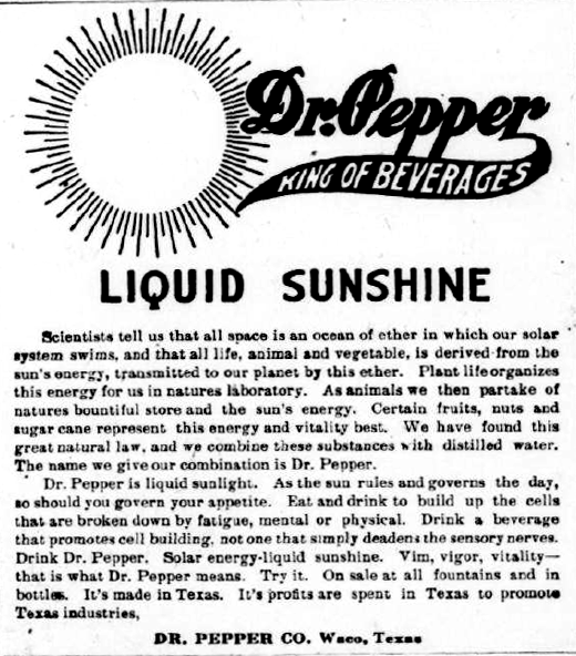 Dr. Pepper ad from 1913
