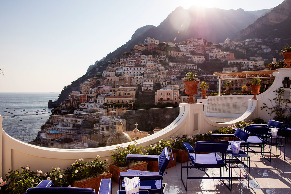 Pure BLISS of a view from restaurant Franco`s in Le Sirenuse, Amalfi, Italy
