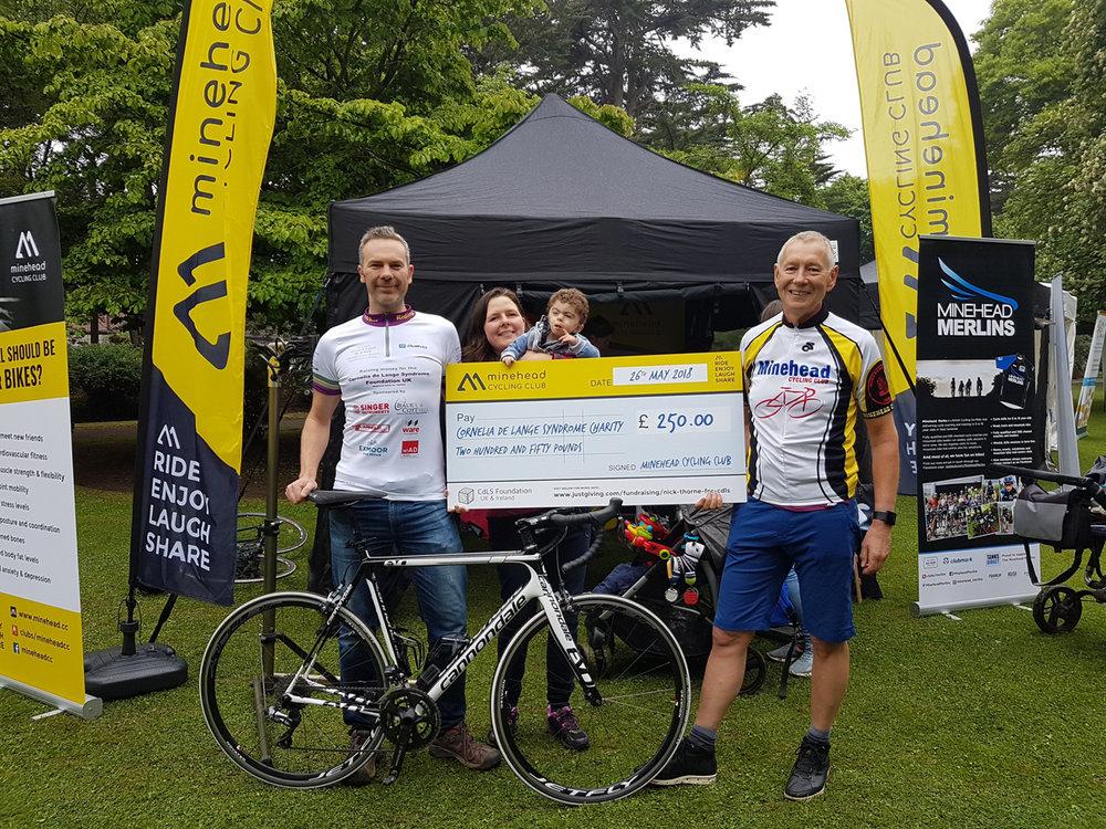 minehead cycling club donation cheque