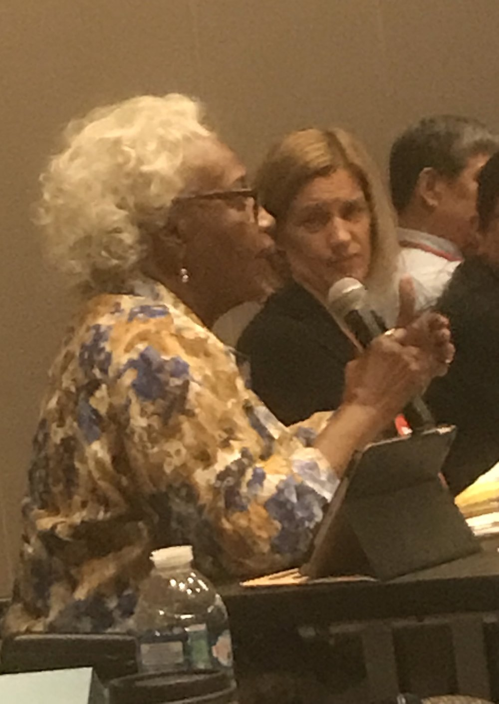 Committee Member Dr. Anita George asks a question about the development of Racial Justice programs in various contexts with and without external funding.