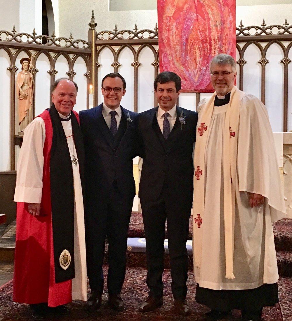 Pete and Chasten's wedding on June 16, 2018 L-R: Bishop Doug, Chasten, Pete, Fr. Brian Grantz