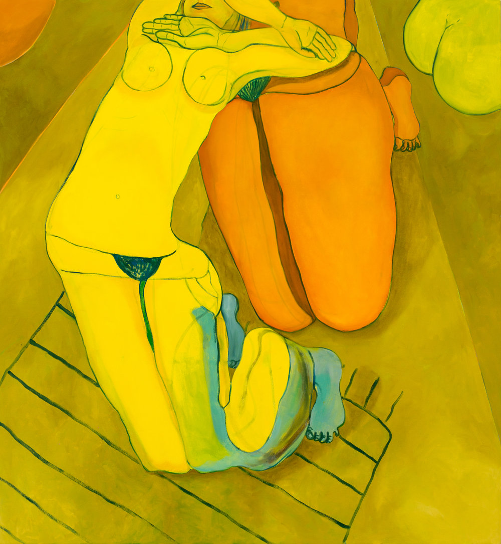 reclining yellow nude