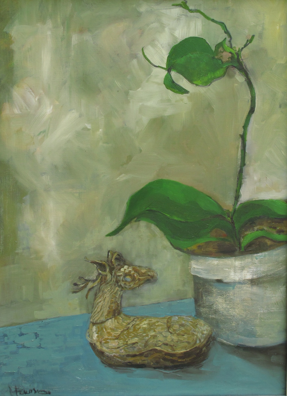 """Sleeping Orchid  wood panel  16""""by20"""" oil"""
