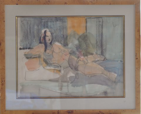 Untitled   Watercolor/linen mat/glass frame