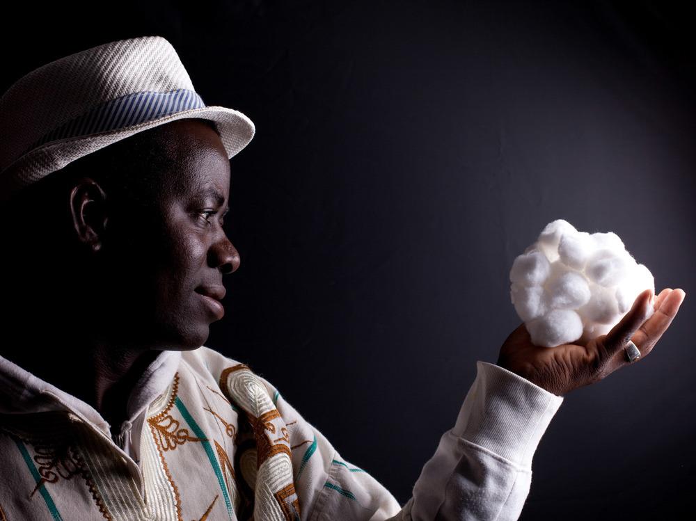 portrait farmer with cotton