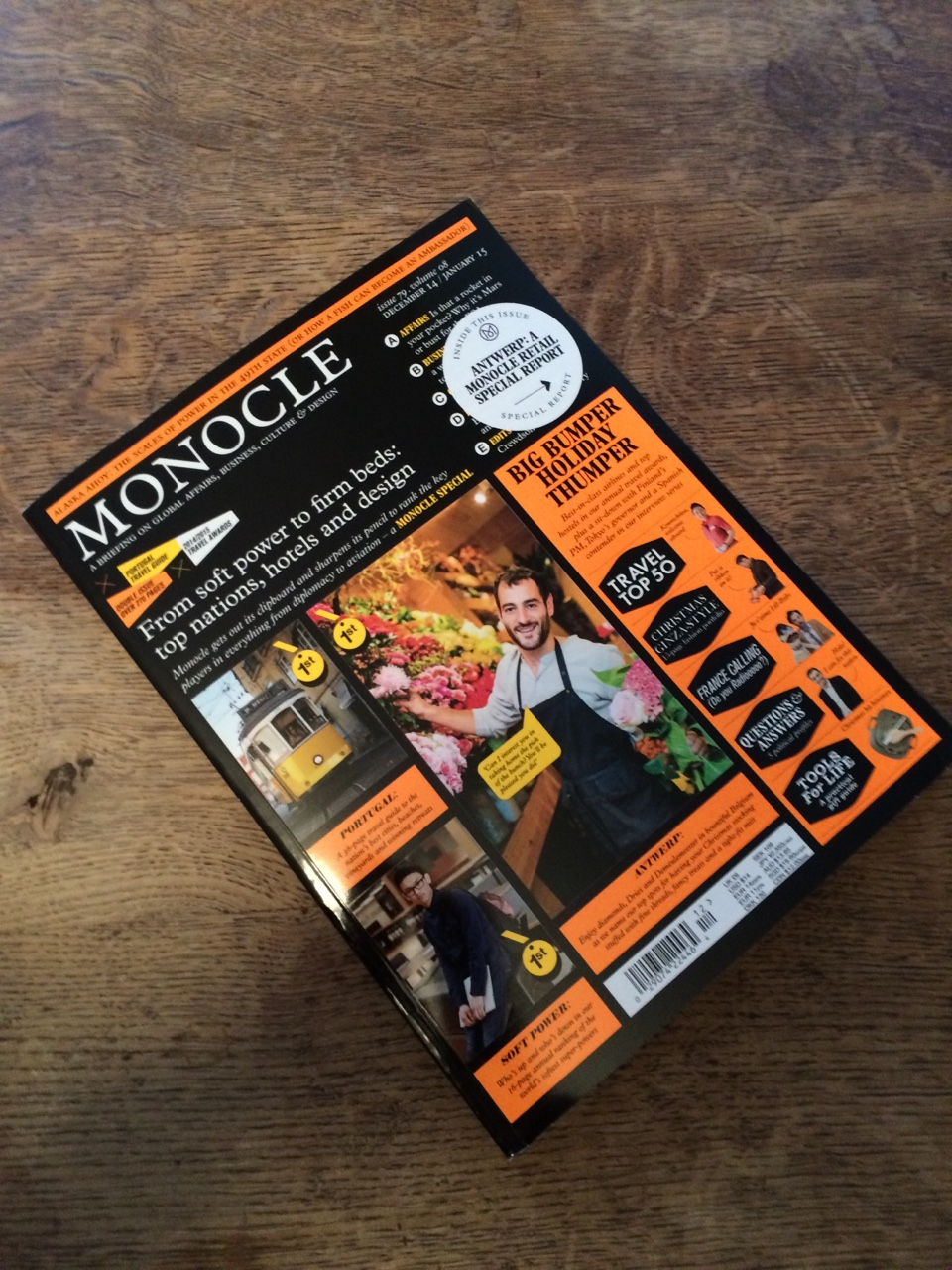 Been a busy month for editorial photography. Happy to see the smiley Antwerp florist I shot ended up on the front of this month's Monocle magazine.