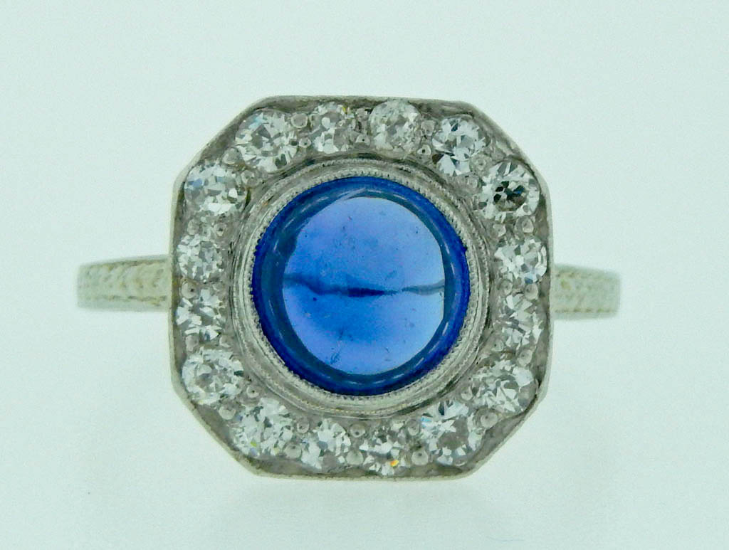 Art Deco Synthetic Blue Sapphire Ring — Zayas Jewelers of Woodstock Vermont
