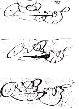 Olof Bergh's signatures